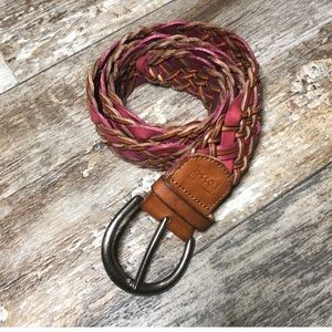 Fossil | Brown Pink Braided Leather Belt Large